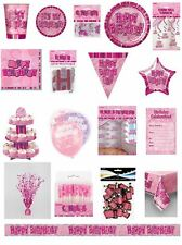 Happy Birthday Pink Glitz Party Range - Party/Plates/Napkins/Banners/Cups