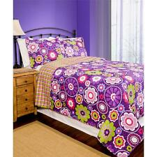 Trendy Teen Girls Bright Purple Pink Lime Reversible Floral Chic Boho Quilt Set