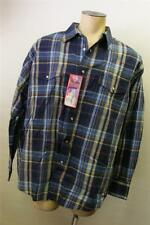 NWT mens WRANGLER LONG sleeve shirt B/U BLUE PLAID PEARL SNAP 2XL XXL NEW