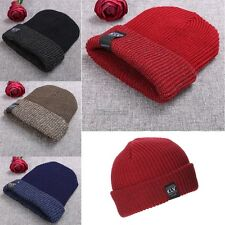 New Unisex Women Men Fashion Stretch Knit Hat Beanie Double Cuffed Hat OK02