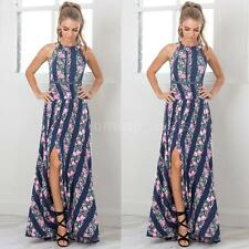 Sexy Women Summer Boho Floral Beach Dress Evening Cocktail Long Maxi Dress V6G5