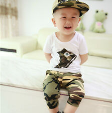 2pcs Toddler Infant Kids Baby Boys T-shirt+Camouflage Shorts Pants Sets Clothes