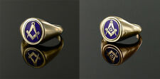 9ct Yellow gold Square and compass Reversible Masonic ring- Blue