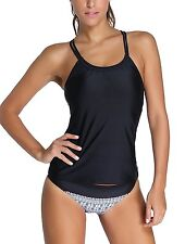 NuoReel Women Banded Printed Tankini Top with Triangle Briefs Swimsuit