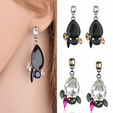 Women Water Drop Rhinestone Crystal Resin Ear Stud Eardrop Dangle Earring Gift