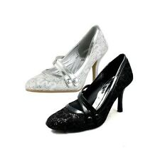 Ladies glitter high heel mary jane shoes with double bar strap