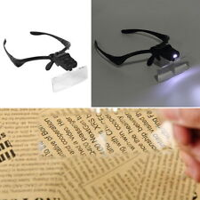 Headband Headset LED Head Light Magnifier Magnifying Glass Loupe 5 x Lens NEW GH
