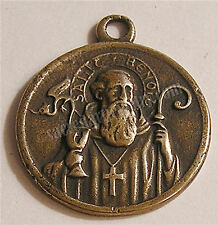 VINTAGE CROSS MEDAL St Benedict S. Benito Catholic Bronze & Sterling Silver 628