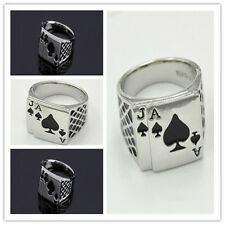 5 SIZE COOL MENS PUNK ACE OF SPADES SILVER PLATED STAINLESS STEEL POKER RING .