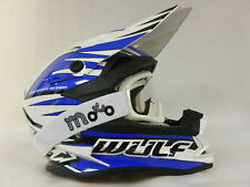 NEW ADULT WULFSPORT ADVANCE MOTOCROSS  OFF ROAD BLUE HELMET+X1 OFF WHITE GOGGLES