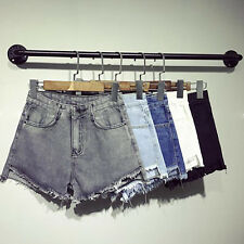 Womens solid color shorts loose high waist denim shorts slim thin jeans