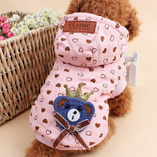 Pet Dog Cat Puppy Clothes Jacket Coat Costume Apparel Hoodie Winter Warm Pink ST