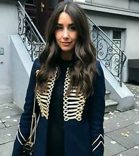 Zara Jacket With Gold Toggles Buttons Embroidered Military Jacket Navy XS S UK 6