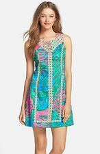 $198 NEW Lilly Pulitzer Macfarlane Shift Dress Mini Multi Green Blue Lace Pink 8