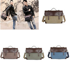 Vintage Men's Canvas Leather Shoulder Messenger Bag Briefcase Handbag Laptop Bag