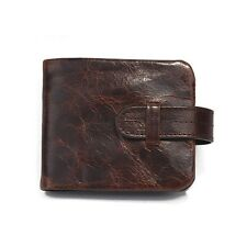 Vintage Style Men's Genuine Leather Wallet Zippered Pocket Purse Bifold Retro