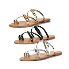 Ladies Flat strappy sandals with open back and toe loop