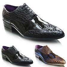 NEW Mens Lace Up Pointed Toe Patent Leather Italian Wedding Dress Formal Shoes