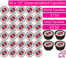 30 READING FOOTBALL TEAM EDIBLE WAFER & ICING CUPCAKES TOPPERS PARTY FC