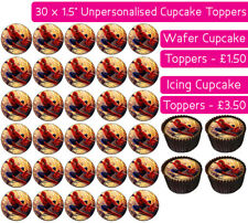 30 SPIDERMAN EDIBLE WAFER & ICING CUPCAKES TOPPERS BIRTHDAY PARTY DECORATION