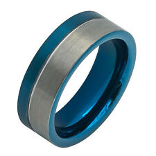 Blue With Silver Tungsten Men's/Women's Wedding Band 8MM - FREE ENGRAVING