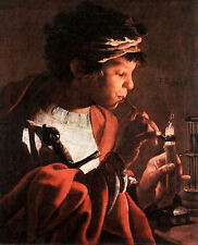 Boy Lighting a Pipe (classic Dutch male art print)