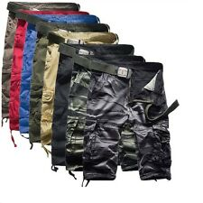 Hot Mens Casual Military Army Cargo Camo Combat Solid Work Shorts Pants Trousers