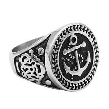 Retro Steampunk Anchor Stainless Steel Mens Ring Jewelry Gothic Punk Band
