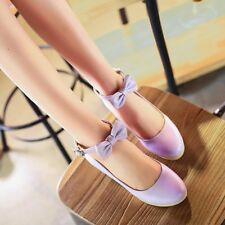 Womens Synthetic Leather Med Wedge Heel Platforms Ankle Straps Pumps Lady Shoes