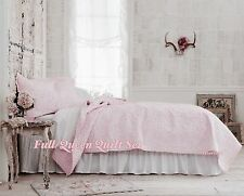 Simply Shabby Chic® Pink Rose Stitch Queen Quilt 2 Shams & Pink Eyelit Sheet Set