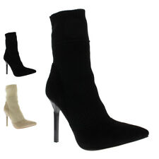 Womens Ankle High Stiletto Fashion Open Toe Party Sock Fit High Heels US 5-12