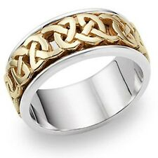 Celtic Wedding Band in 14K Two-Tone Gold