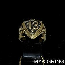 STUNNING BRONZE MEN'S BIKER RING LUCKY NUMBER 13 ON DRAGON SHIELD ANY SIZE