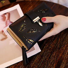 Black Womens Wallets and Purses Fashion Ladies Long Wallet PU Leather Coin Bags