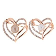 Women Ladies Bouquet Rhinestone Crystal Brooch Pin Pearl Brooches Double Heart