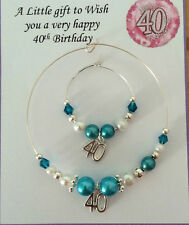 Wine, Champagne Bottle & Glass Charm 18th & 21st Birthday Gift Present Turquoise
