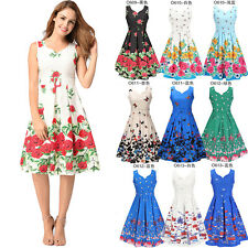 Women Summer A Line Dress Floral Printed Belted Sleeveless Casual Pleated Dress