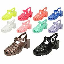 Ladies Spot On Mid Chunky Heel Jelly Sandals