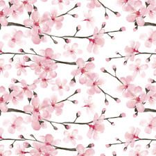 Botanical Cherry Blossom Floral Fabric Printed By Spoonflower BTY