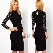 Office Work Mock Neck Slim Sheath Bodycon Black Formal Party Wiggle Pencil Dress