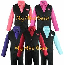 My Mini Gent Boys 4PC Solid Black Vest Suit Set Many Colors Vest Pants Shirt Tie