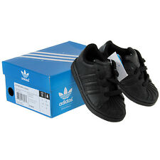 Adidas Superstar All Black 676622 Leather Toddler Kids Shoes