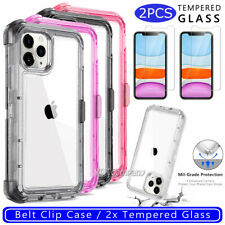 For iPhone 7 8 PLUS Phone Case Cover With Kickstand And Belt Clip Holster Clear
