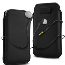 Black PU Leather Pull Tab Flip Case Cover & Earbud Earphone for Mobile Phones