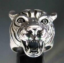 SILVER BIKER RING VICIOUS TIGER HEAD WITH TOOTH PREDATOR 2 ANTIQUED ANY SIZE