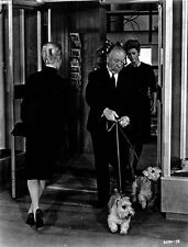 Hitchcock Alfred with Dog in Black and White High Quality Photo