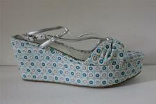 Juicy Couture Womens Cecil Sz 10 / 11 M Blue Mosaic Cotton Slingback Shoe Sandal