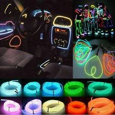 1-5m Neon Light Glow Motion Car Party Chasing EL Wire Strip + 3v/12v Controller