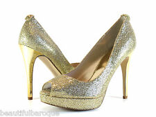 Michael Kors York Platform Gold Glitter Peep Toe High Heel Pump Shoes Size 8