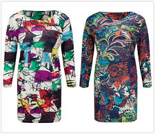 Women Vintage Loose Floral Print Long Sleeve A-line Tunic Shift Casual Dress New
